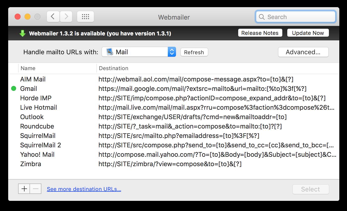 Webmailer's update bar slides into view