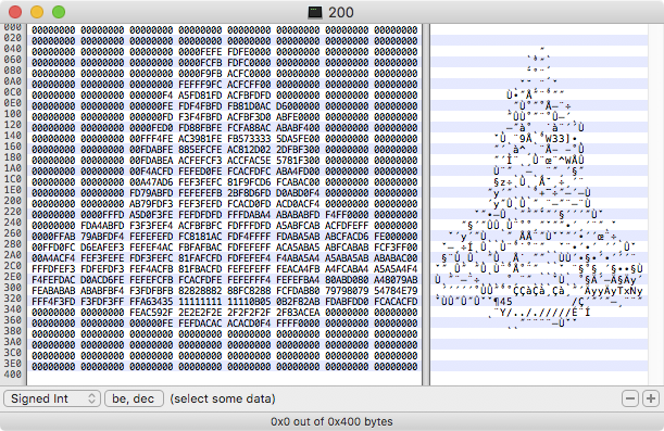 ...a sprite for a spaceship that uses 8-bit pixels looks like a spaceship when viewed in a hex editor.